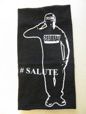 "Barber Salute Black Hand Towel 16"" x 30"""